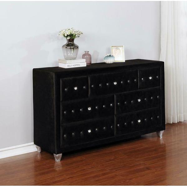 See Details - Deanna Contemporary Black and Metallic Dresser