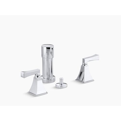 Polished Chrome Vertical Spray Bidet Faucet With Deco Lever Handles