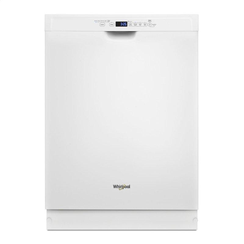 Stainless steel dishwasher with 1-Hour Wash cycle White