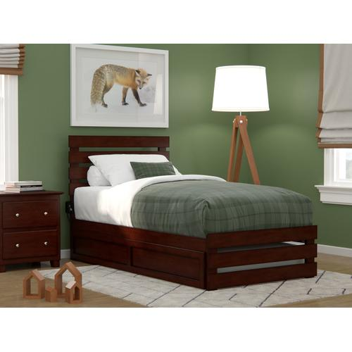 Oxford Twin Bed with Footboard and USB Turbo Charger with Twin Trundle in Walnut