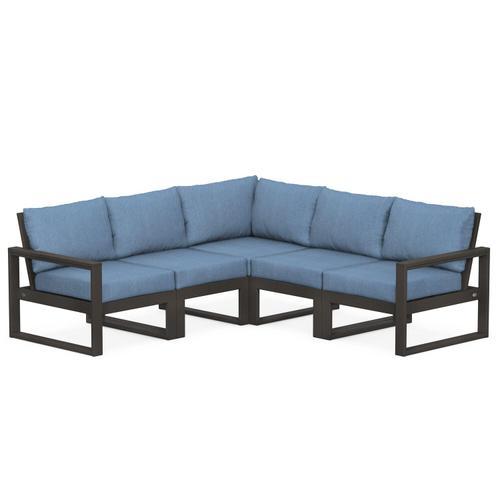 Polywood Furnishings - EDGE 5-Piece Modular Deep Seating Set in Vintage Coffee / Sky Blue