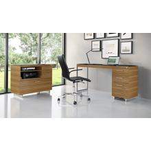 View Product - Sequel 20 6114 3 Drawer File Cabinet in Walnut Satin Nickel