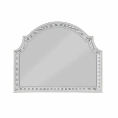 ACME Celestia Server Mirror - 62114 - Traditional - Wood (Solid Poplar), Wood Veneer (Oak), Poly-Resin, MDF, Ply, PB - Off White