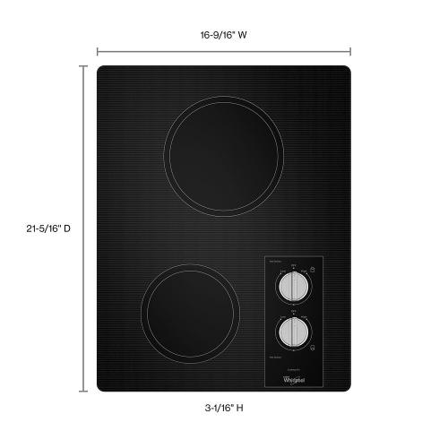Whirlpool - 15-inch Electric Cooktop with Easy Wipe Ceramic Glass