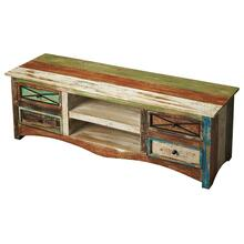 A playful arrangement of drawers and shelves make it ideal for storage and display. The beautifully scuffed paint on the reclaimed wood pops on this masterfully crafted piece. The salvaged materials used to create this product has been properly sealed, ad