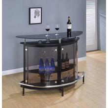 See Details - Contemporary Black Bar Unit With Tempered Glass