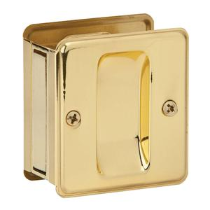 Door Hardware  Pocket Door Pull - Bright Brass Product Image