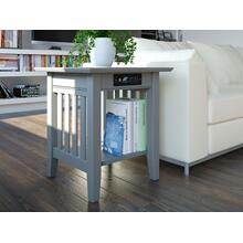 See Details - Mission End Table with Charger Atlantic Grey