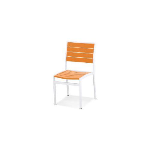 Polywood Furnishings - Eurou2122 Dining Side Chair in Satin White / Tangerine