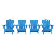 View Product - Wave Collection 4-Piece Adirondack Chair Set in Vintage Pacific Blue