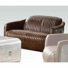 ACME Brancaster Loveseat - 53546 - Retro Brown Top Grain Leather & Aluminum