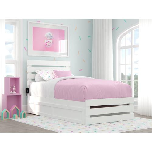 Atlantic Furniture - Oxford Twin Bed with Footboard and USB Turbo Charger with Twin Trundle in White