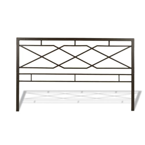 Fashion Bed Group - Alpine Metal SNAP Bed with Folding Frame Bedding Support System and Geometric Panel Design, Rustic Pewter Finish, King