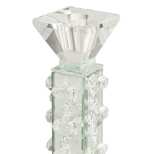 Slender Mirrored Crystal Candle Holder Small (6/pack)