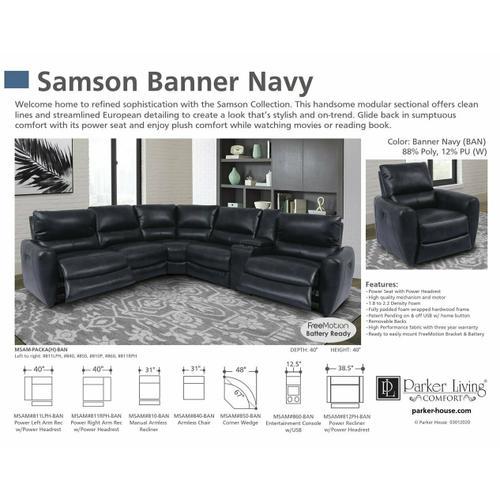 Parker House - SAMSON - BANNER NAVY Armless Recliner