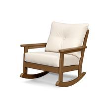 Teak & Antique Beige Vineyard Deep Seating Rocking Chair