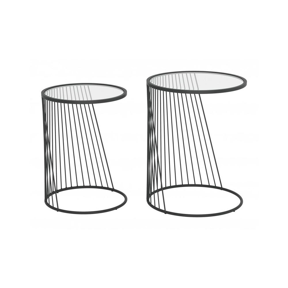 Shine Nesting Tables Set Clear & Black