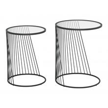 Shine Nesting Tables Set Clear & Black