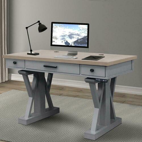 See Details - AMERICANA MODERN - DOVE 56 in. Power Lift Desk (from 23 in. to 48.5 in.) (AME#256T and LIFT#200WHT)