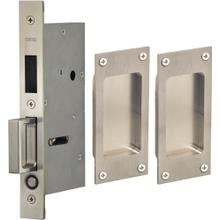Pair Dummy Pocket Door Lock with Modern Rectangular Trim featuring Mortise Edge Pull in (US32D Satin Stainless Steel)