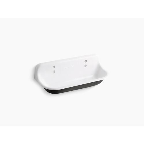 White 4' Wall-mounted Wash Sink With 2 Faucet Holes