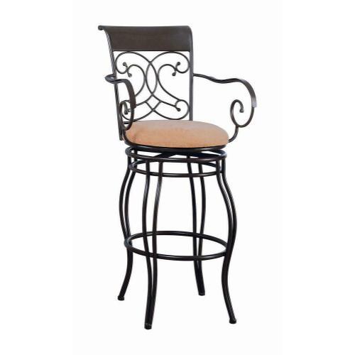 Coaster - Transitional Dark Brown Metal Bar Stool