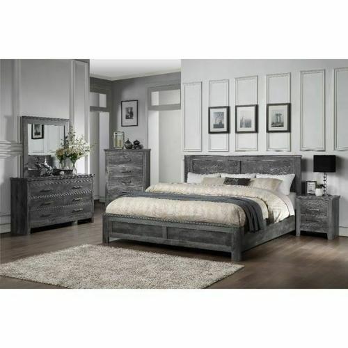 ACME Vidalia Queen Bed - 27320Q - Rustic - Wood (Solid Pine), Veneer (Melamine), MDF - Rustic Gray Oak