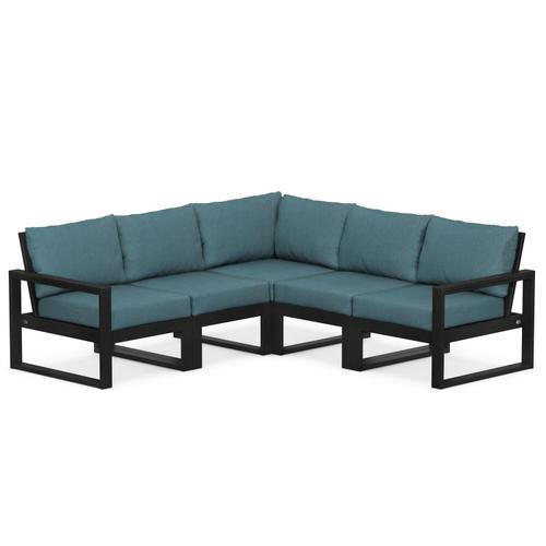 Polywood Furnishings - EDGE 5-Piece Modular Deep Seating Set in Black / Ocean Teal