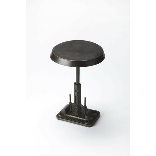 This post-modern-inspired accent table will stylishly enhance your space. Featuring an industrial chic aesthetic, it is hand crafted from iron.