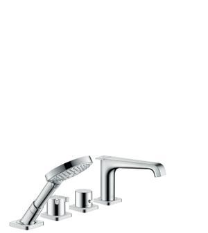 Chrome 4-hole tile mounted thermostatic bath mixer Product Image