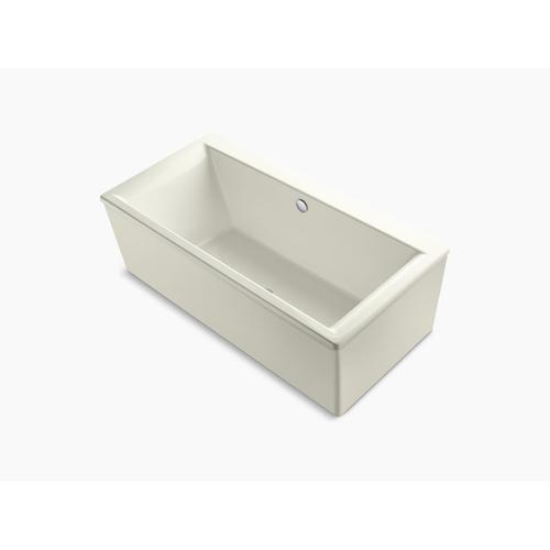 "Biscuit 72"" X 36"" Freestanding Bath With Straight Shroud and Center Drain"