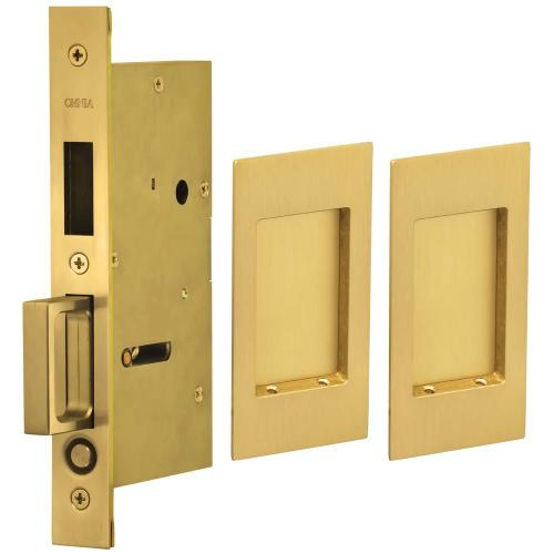Product Image - Pair Dummy Pocket Door Lock with Modern Rectangular Trim featuring Mortise Edge Pull in (US4 Satin Brass, Lacquered)