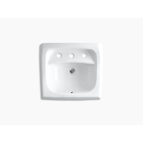 """Biscuit 21-1/4"""" X 18-1/8"""" Wall-mount/concealed Arm Carrier Bathroom Sink With Widespread Faucet Holes"""