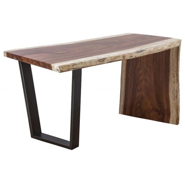 See Details - Natural Guanacaste Waterfall Desk with Trapezoid Base