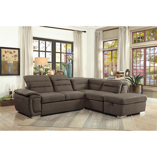 Gallery - 3-Piece Sectional with Pull-out Bed and Storage Ottoman