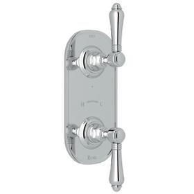 1/2 Inch Thermostatic and Diverter Control Trim - Polished Chrome with Metal Lever Handle
