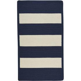 Cabana Stripes Navy Blue White Braided Rugs