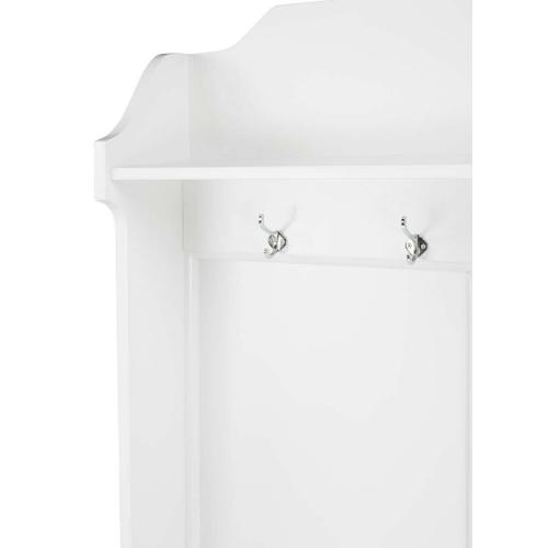 This delightful hall tree boasts abundant storage for jackets, scarves, handbags and more. Its classic cottage appearance is elevated by a crisp white finish and polished aluminum hooks and door pulls. It is crafted from mahogany and rubberwood solids wit