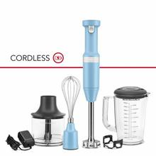 See Details - Cordless Variable Speed Hand Blender with Chopper and Whisk Attachment - Blue Velvet