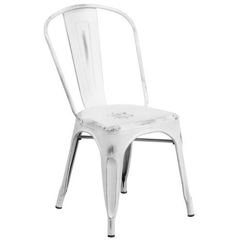 Distressed White Metal Indoor-Outdoor Stackable Chair