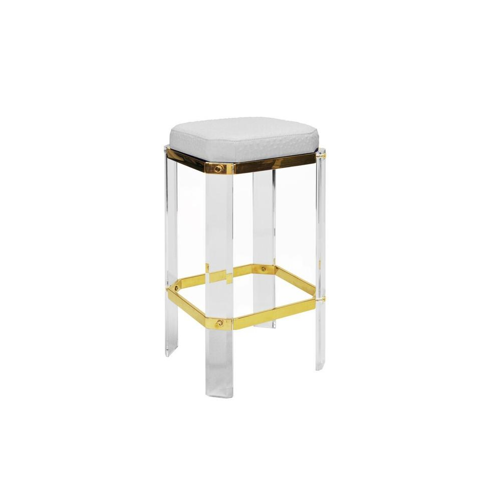 With A Nod To Hollywood's Golden Age, Our Opulent Dorsey Counter Stool Will Channel Your Inner Celebrity. Faceted Lucite Legs Are Studded With Polished Brass Accents, and Its White Ostrich Cushion Finishes This Glamour Shot.