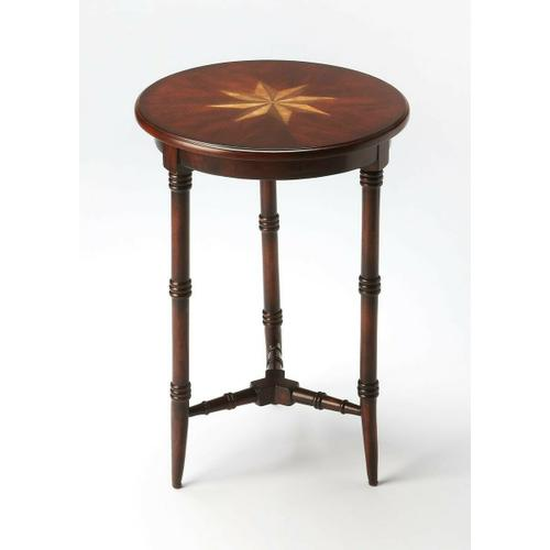 Butler Specialty Company - This charming accent table is sure to be a cherished addition to any space. Featuring three gracefully tapered legs with faux bamboo turnings and a matching stretcher, it is carefully crafted from select hardwood solids and wood products with a cherry veneer top encompassing a maple and walnut veneer inlaid starburst.