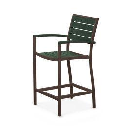Polywood Furnishings - Eurou2122 Counter Arm Chair in Textured Bronze / Green