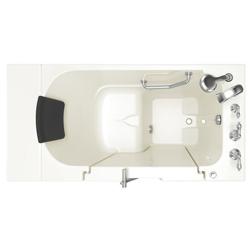 Gelcoat Premium Series 30x52 Inch Walk-in Tub with Outward Facing Door, Left Drain - Linen
