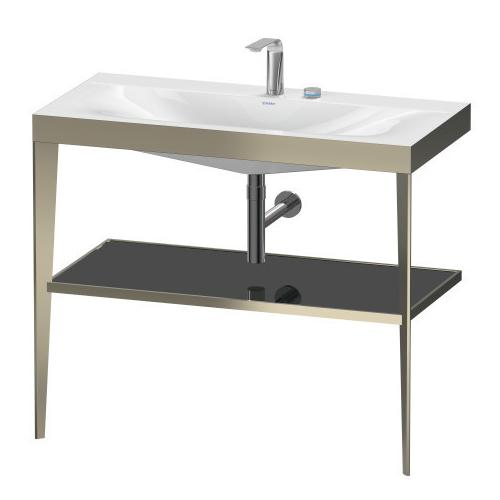 Furniture Washbasin C-bonded With Metal Console Floorstanding, Black High Gloss (lacquer)
