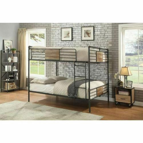 ACME Brantley Queen/Queen Bunk Bed - 37720 - Sandy Black & Dark Bronze Hand-Brushed