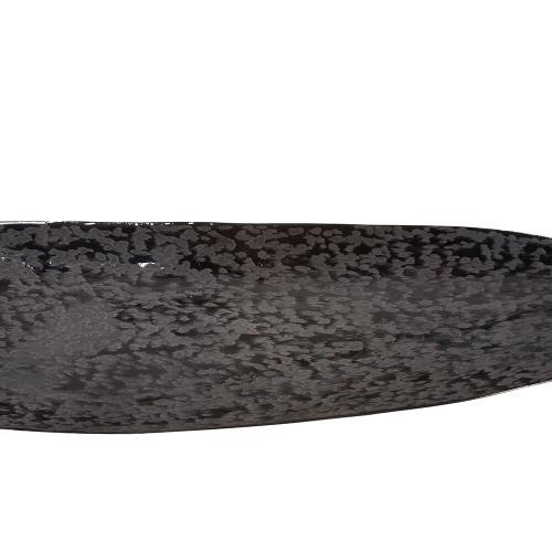 Howard Elliott - Chiseled Texture Black Iron Elongated Tray, Small