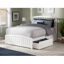 Richmond Queen Bed with Matching Foot Board with 2 Urban Bed Drawers in White