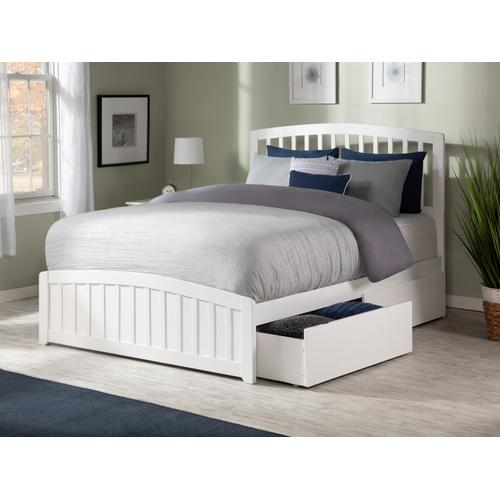 Atlantic Furniture - Richmond Queen Bed with Matching Foot Board with 2 Urban Bed Drawers in White
