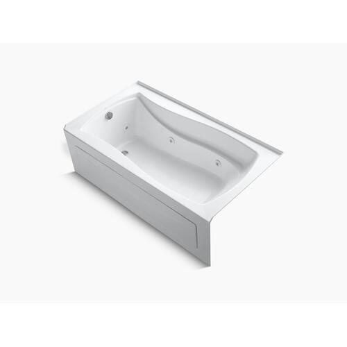 "White 66"" X 36"" Alcove Whirlpool Bath With Bask Heated Surface, Integral Apron, Integral Flange, and Left-hand Drain"